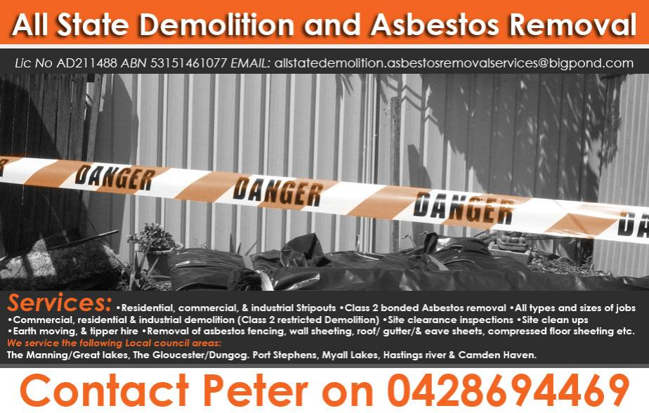 All State Demolition and Asbestos Removal Services - 0428 694 469   Asbestos - Forster, Tuncurry, Pipers Bay, Coomba Bay