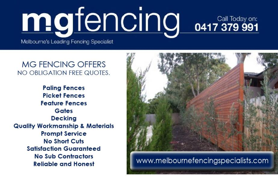 MG Fencing - 0417 379 991  Fencing - Ormond, McKinnon, Bentleigh East, Bentleigh, Hampton, Hampton East, Moorabbin  Fences - Ormond, McKinnon, Bentleigh East, Bentleigh, Hampton, Hampton East, Moorabbin  Fencing Contractor - Ormond, McKinnon, Bentleigh East, Bentleigh, Hampton, Hampton East, Moorabbin