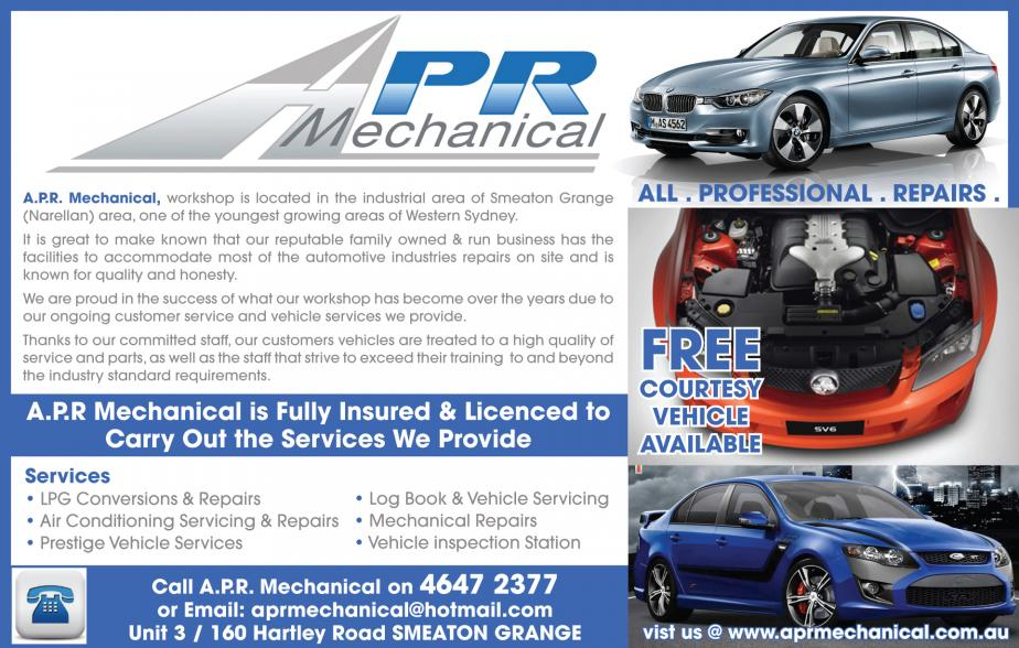 For a local reliable mechanic who will attend to any of your needs in the mechanic field whether it be a service or smash repairs in the areas of Narellan, Narellan Vale, Harrington Park, Smeaton Grange, Camden, Oran Park, Gregory Hills give APR Mechanical a call on 02 4647 2377 for all of your needs in the mechanical field or if you just need a mechanic