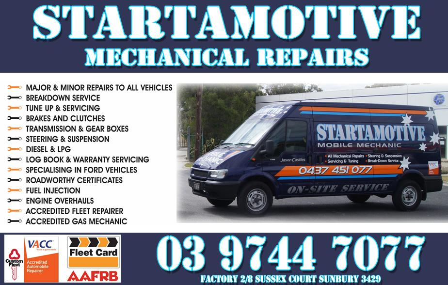 Startamotive are your number one mechanics for Sunbury and surrounding areas. Startamotive specialise in all forms of mechanic, mechanics, mechanical repairs and car servicing. So give Startamotive at Sunbury a call today on 03 9744 7077.