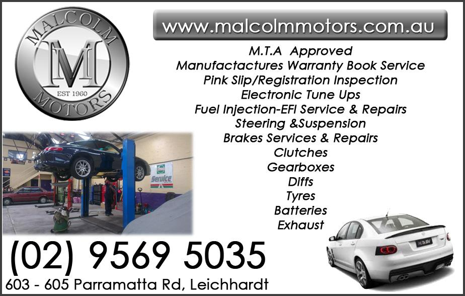 Malcom Motors - 02 9569 5035  Mechanic - Leichardt