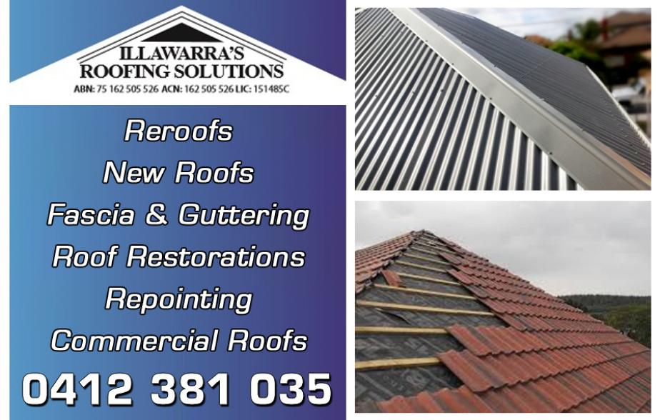 Illawarra's Roofing Solutions - 0412 381 035  Roofing - Wollongong, Gwynneville, Keiraville, Coniston, Windang  Roofer - Wollongong, Gwynneville, Keiraville, Coniston, Windang  Roof Restorations - Wollongong, Gwynneville, Keiraville, Coniston, Windang  Roof Repairs - Wollongong, Gwynneville, Keiraville, Coniston, Windang