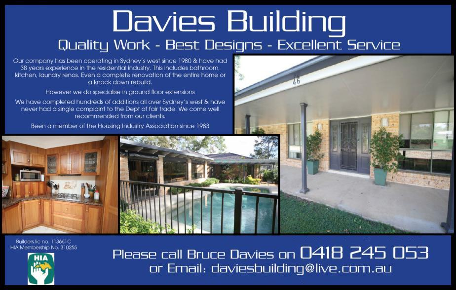 If your looking for a builder to attend to any of your building needs give the expert builder in the areas of Jamisontown, South Penrith, Penrith, Cambridge Park, Cranebrook a call B & M Davies Building Pty Ltd on 0418 245 053 for all of your building needs today