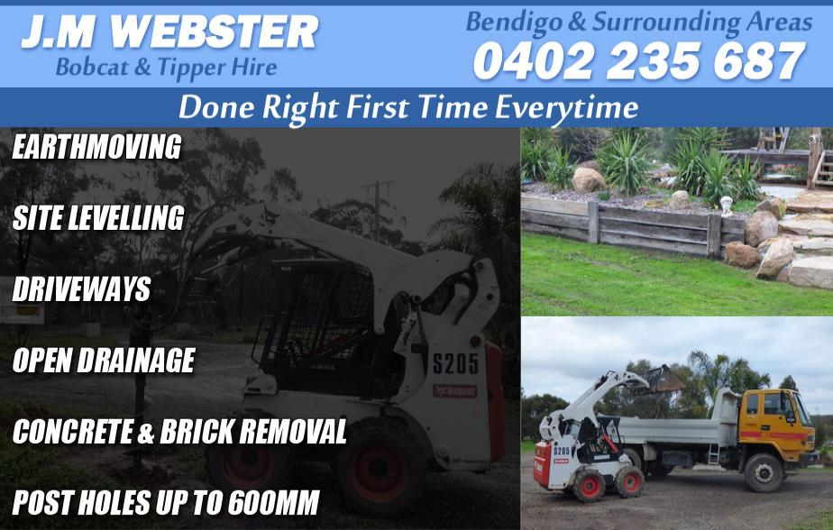 J.M Webster Bobcat - 0402 235 687  Bobcat Hire - Bendigo