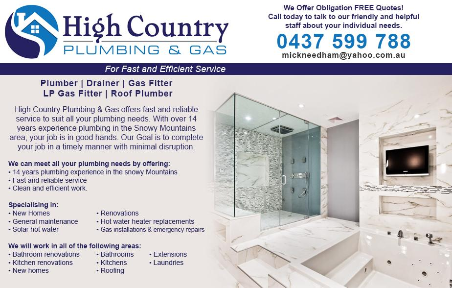 High Country Plumbing & Gas - 0437 599 788  Plumber - Snowy Mountains