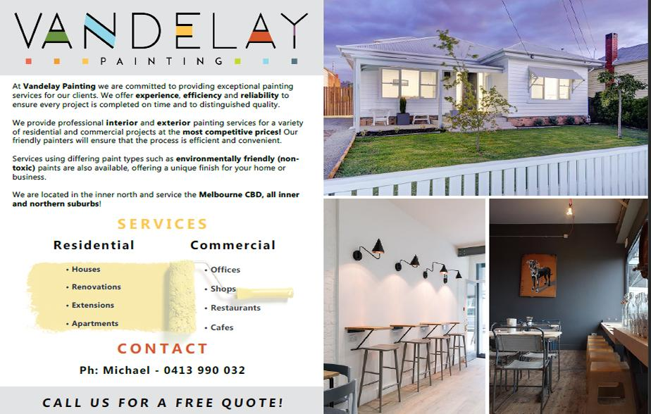 Vandelay Painting - 0413 990 032  Painter - North Melbourne, Parkville, Carlton, Carlton North, Fitzroy, Collingwood, City