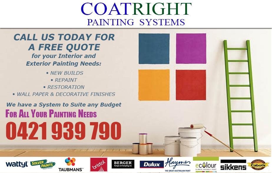 Coat Right Painting Service - 0421 939 790  Painter - Kilmore, Sunbury, Craigieburn, Greenvale, Roxburgh Park, Somerton, Meadow Heights, Coolaroo  Painting - Kilmore, Sunbury, Craigieburn, Greenvale, Roxburgh Park, Somerton, Meadow Heights, Coolaroo