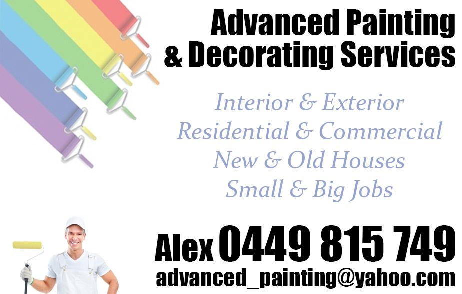 Advanced Painting and Decorating Services- 0449 815 749  Painter- Epping, Thomastown, Lalor, Mill Park, Bundoora, Watsonia North, Watsonia, Greensborough