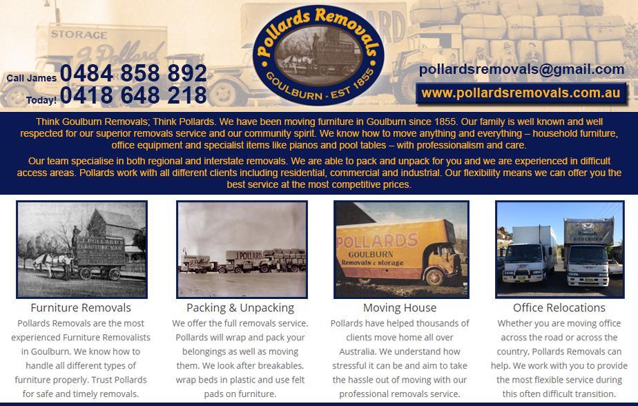Pollards Removals - 0418 648 218  Removals - Goulburn, Yass, Gunning  Furniture Removals - Goulburn, Yass, Gunning  Removalist - Goulburn, Yass, Gunning