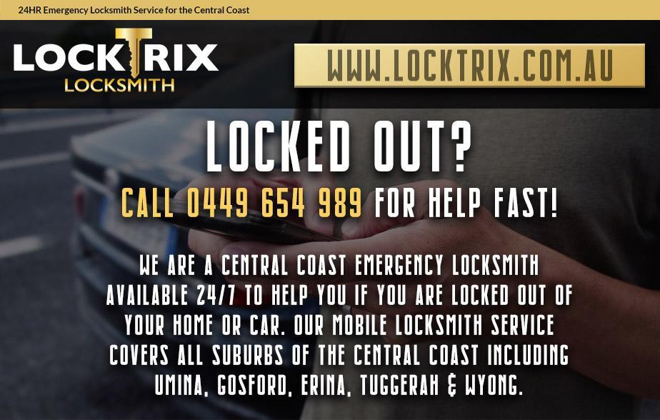 Locktrix Locksmith- 0449 654 989  Locksmith- Gosford Car Keys Central Coast