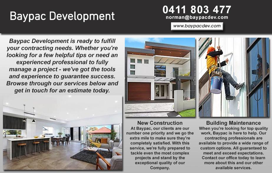 Baypac Development P/L- 0411 803 477  Builder- Sutherland Shire