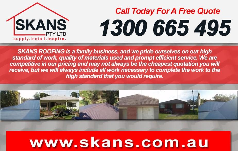 Skans Roofing- 1300 665 495  Roofing- Taree, Wingham, Chatham, Forster, Tuncurry, Pipers Bay, Coomba Bay  Roofer- Taree, Wingham, Chatham, Forster, Tuncurry, Pipers Bay, Coomba Bay  Roof repairs- Taree, Wingham, Chatham, Forster, Tuncurry, Pipers Bay, Coomba Bay  Roof restoration- Taree, Wingham, Chatham, Forster, Tuncurry, Pipers Bay, Coomba Bay