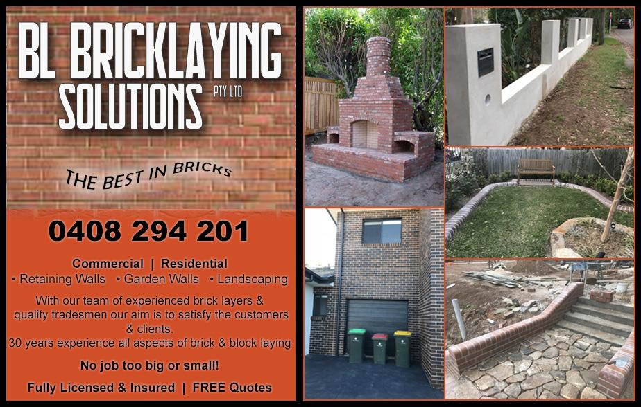 BL Bricklaying Solutions- 0408 294 201  Bricklaying- Northern Beaches Bricklayer- Northern Beaches