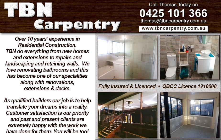 TBN Carpentry Pty Ltd- 0425 101 366  Carpenter- Redcliffe, Margate, Clontarf, North Lakes, Murrumba Downs, Mango Hill, Narangba