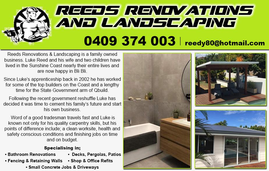 Reeds Renovations and Landscaping- 0409 374 003  Carpenter- Mooloolaba, Mountain Creek, Buderim, Sippy Downs, Maroochydore, Alexandra Headland, Kuluin, Sunshine Plaza, Pacific Paradise, Bli Bli, Mudjimba, Twin Waters