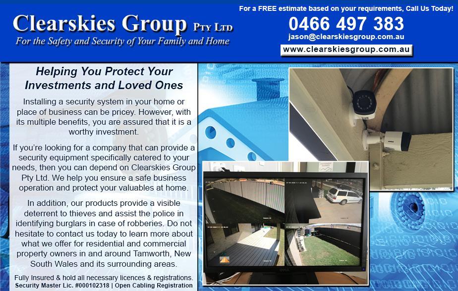 Clearskies Group Pty Ltd- 0466 497 383  CCTV- Tamworth Alarms- Tamworth