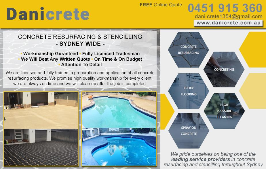 Danicrete Spray P/L- 0451 915 360  Concrete Resurfacing- Moorebank, Chipping Norton, Hammondville, Milperra, Wattle Grove, Cabramatta, Canley Vale, Canley Heights, Fairfield