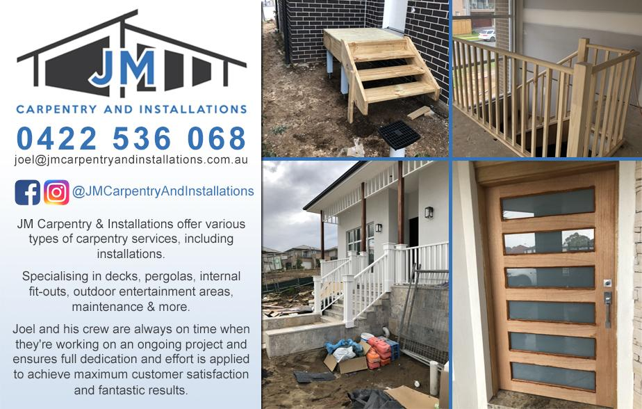 JM Carpentry and Installations- 0422 536 068  Carpenter- Pendle Hill, Toongabbie, Prospect, Lalor Park, Seven Hills, Stanhope Gardens, Rouse Hill, Schofields, Quakers Hill, Cherrybrook, Kellyville Ridge, The Ponds