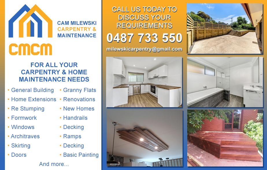Cameron Milewski Carpentry Services- 0487 733 550  Carpenter- Rockhampton
