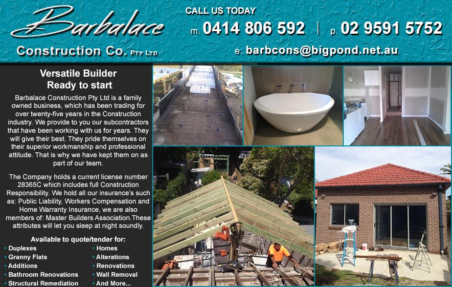 Barbalace Constructions Co- 0414 806 592  Builder- Tempe, Marrickville, Arncliffe, Sydenham, Ashbury, Dulwich Hill, Lewisham, Petersham