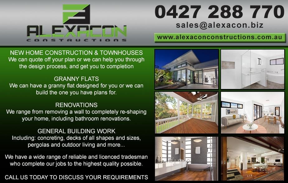 Alexacon Constructions- 0427 288 770  Builder- The Entrance, Bateau Bay, Shelly Beach, Killarney Vale