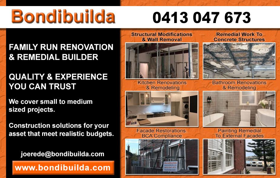 BondiBuilda- 0413 047 673  Builder- Double Bay, Point Piper, Rose Bay, Woollahra, Bellevue Hill, Dover Heights, Bondi, Vaucluse, Watsons Bay, Bondi Beach   Builders- Double Bay, Point Piper, Rose Bay, Woollahra, Bellevue Hill, Dover Heights, Bondi, Vaucluse, Watsons Bay, Bondi Beach