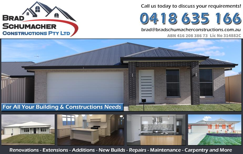 Brad Schumacher Constructions- 0418 635 166  Builder Bathurst Bathurst Builders