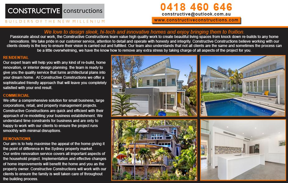 Constructive Constructions- 0418 460 646  Builder- North Shore