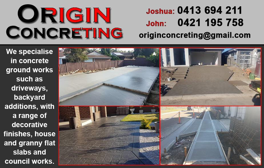 Origin Concreting- 0413 694 211  Concreter- Bankstown, Condell Park, Yagoona, Georges Hall, Revesby  Concreting- Bankstown, Condell Park, Yagoona, Georges Hall, Revesby