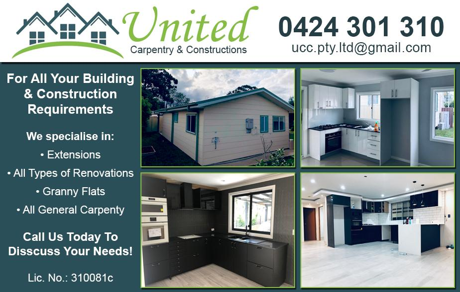 United Carpentry and Constructions- 0424 301 310  Builder- Blacktown
