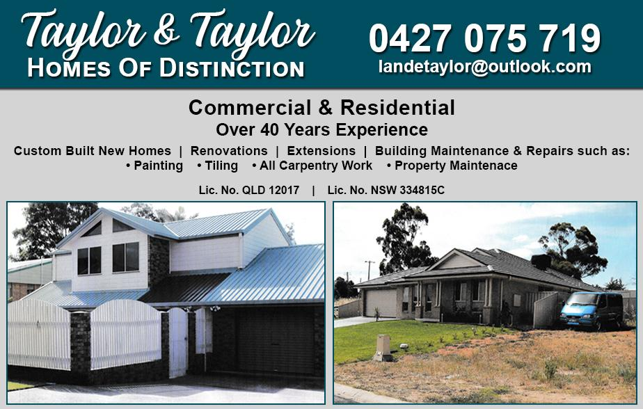 Taylor and Taylor Homes Of Distinction- 0427 075 719  Builder- Cowra, Woodstock, Gooloogong, Canowindra, Grenfell, Koorawatha