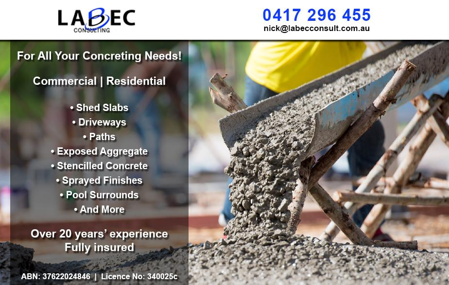 Labec Consulting- 0417 296 455  Concreter- Woodberry, Beresfield, Thornton, Metford, Ashtonfield, East Maitland, Tenambit, Bolwarra, Maitland, South Maitland, Rutherford, Telerah  Concreting- Woodberry, Beresfield, Thornton, Metford, Ashtonfield, East Maitland, Tenambit, Bolwarra, Maitland, South Maitland, Rutherford, Telerah