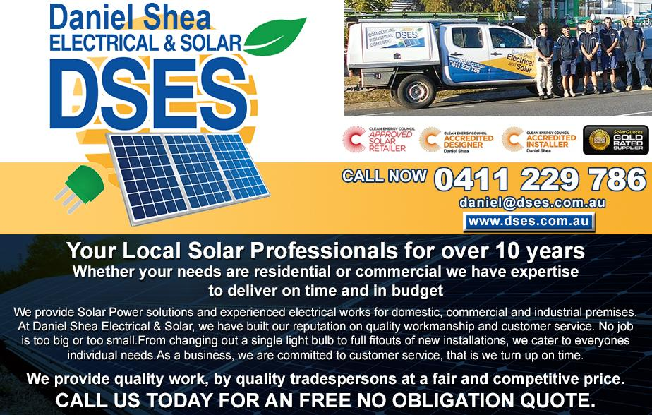 Daniel Shea Electrical & Solar- 0411 229 786  Solar Power- Gladstone Solar Panels- Gladstone solar Systems- Gladstone