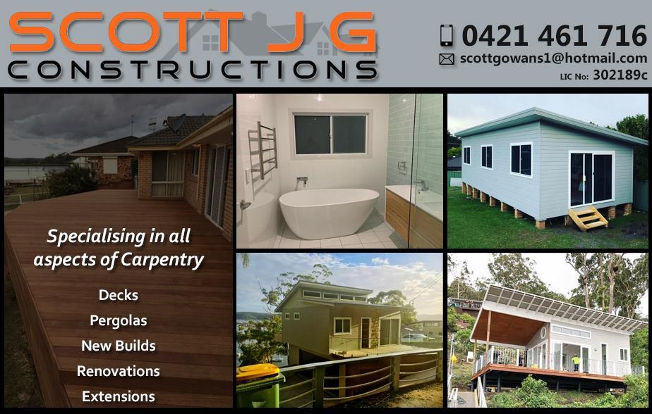 Scott JG Construction- 0421 461 716  Builder- Central Coast