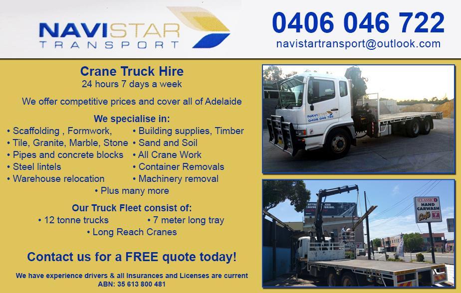 Navistar Transport- 0406 046 722  Crane Truck Hire Adelaide