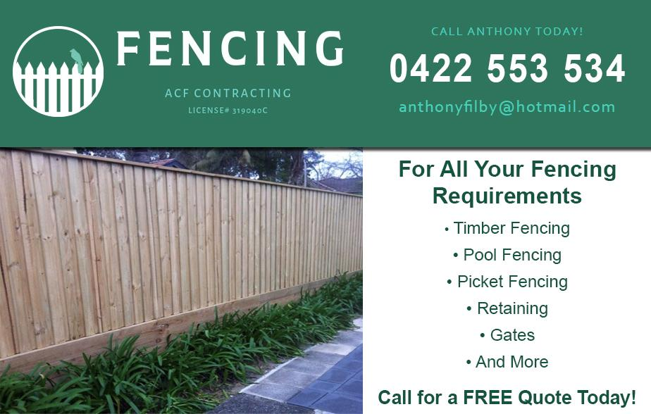 ACF Contracting Fencing- 0422 553 534  Fencing Eastern Suburbs Pool Fencing Eastern Suburbs  Timber Fencing Eastern Suburbs Glass Fencing Eastern Suburbs