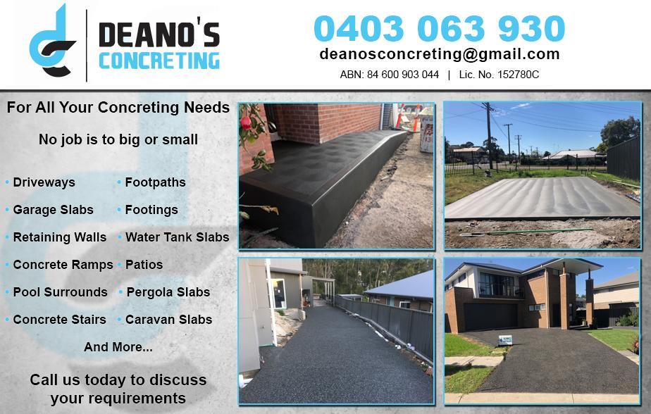 Deano's Concreting- 0403 063 930  Concreting- Newcastle  Concrete- Newcastle  Concreter- Newcastle