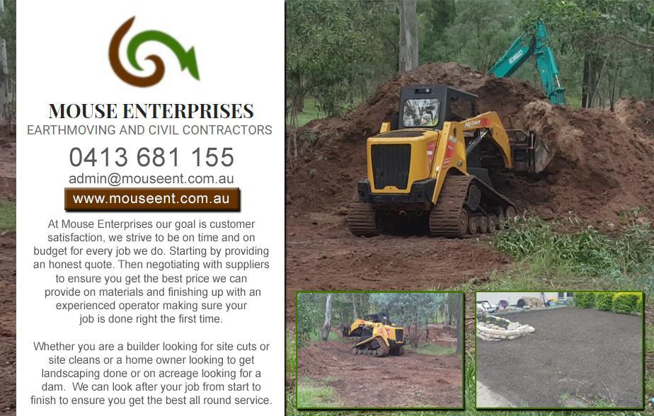 Mouse Enterprises Earthmoving- 0413 681 155  Earthmoving- Hervey Bay Excavator Hire- Hervey Bay Mini Excavator Hire- Hervey Bay