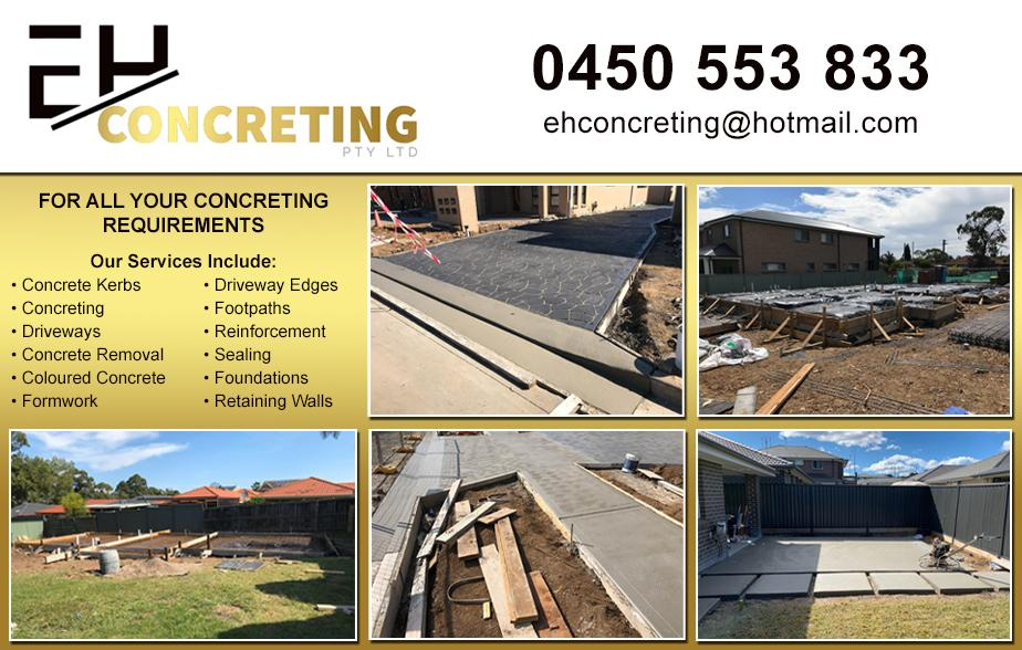 EH Concreting- 0450 553 833  Concreter- Bankstown, Condell Park, Yagoona, Georges Hall, Revesby