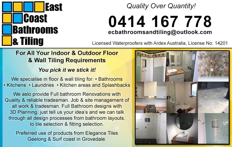East Coast Bathroom & Tiling- 0414 167 778  Tiling- Geelong, Thomson, Breakwater, St Albans Park, Whittington, Newcomb, East Geelong, Moolap  Tiler- Geelong, Thomson, Breakwater, St Albans Park, Whittington, Newcomb, East Geelong, Moolap
